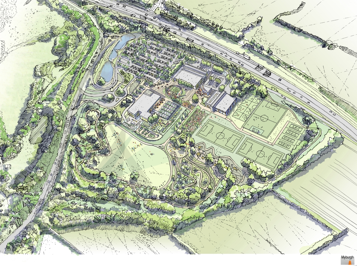 Aerial plan of Oxylane village in Broxtowe