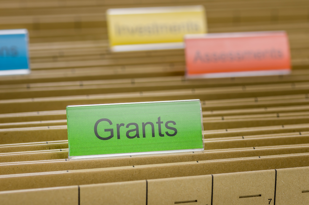 "Image of file folders with organisational tabs, green tab in foreground labelled ""Grants"""