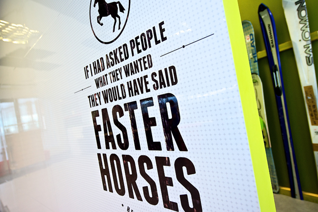 "Image of sign on wall with text ""If I had asked people what they wanted they would have said faster horses"""