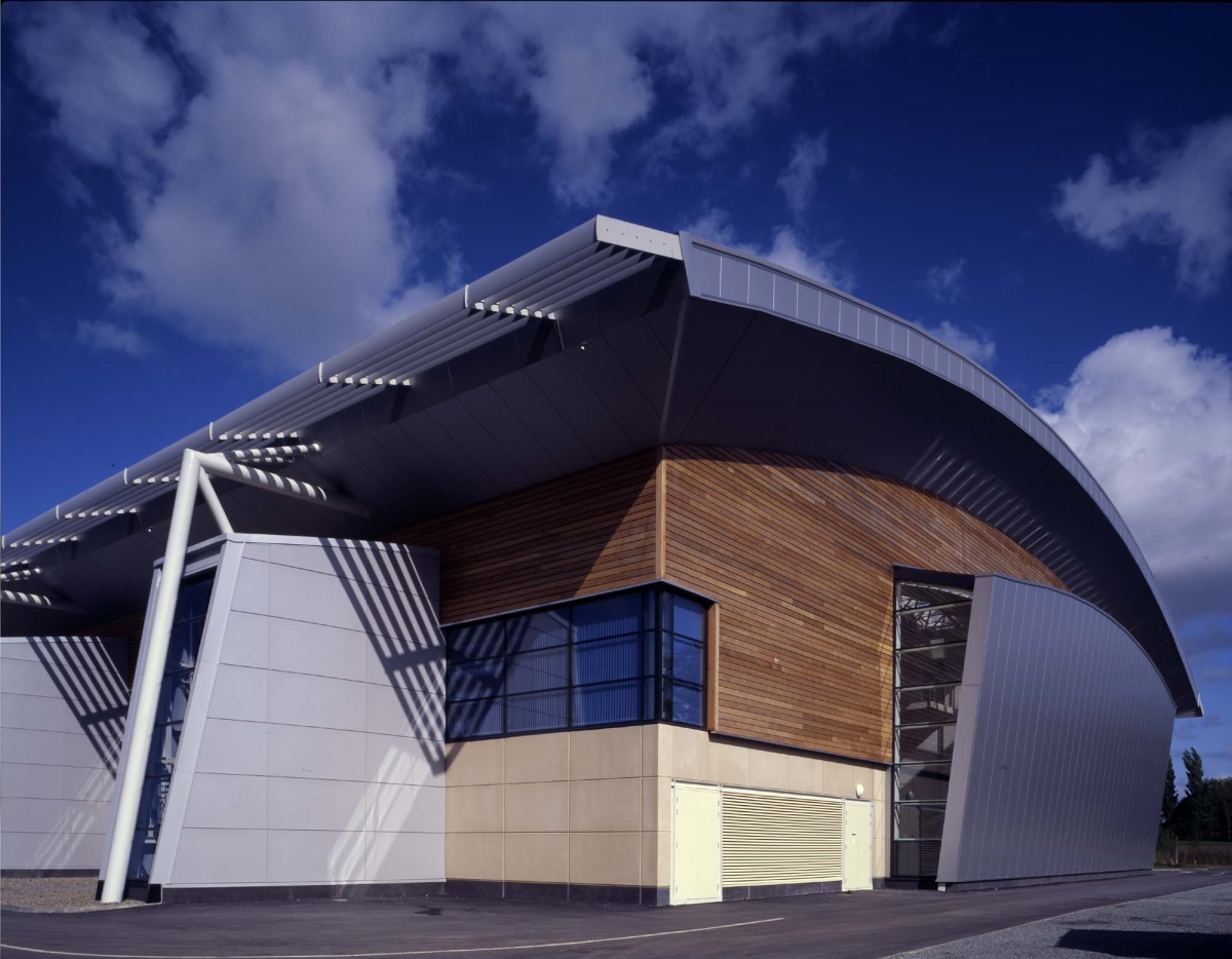 Exterior image of the new Aquatic Centre in Dublin