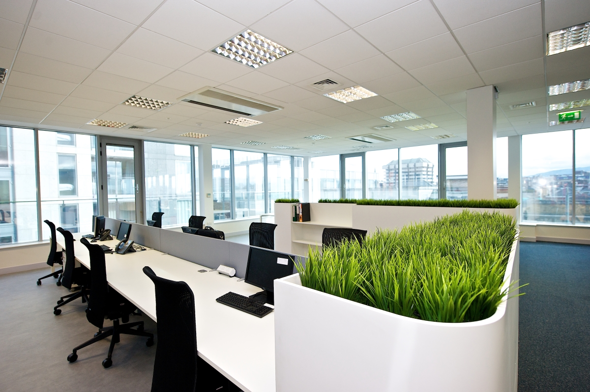 Image of white office desks and white planters with green grass