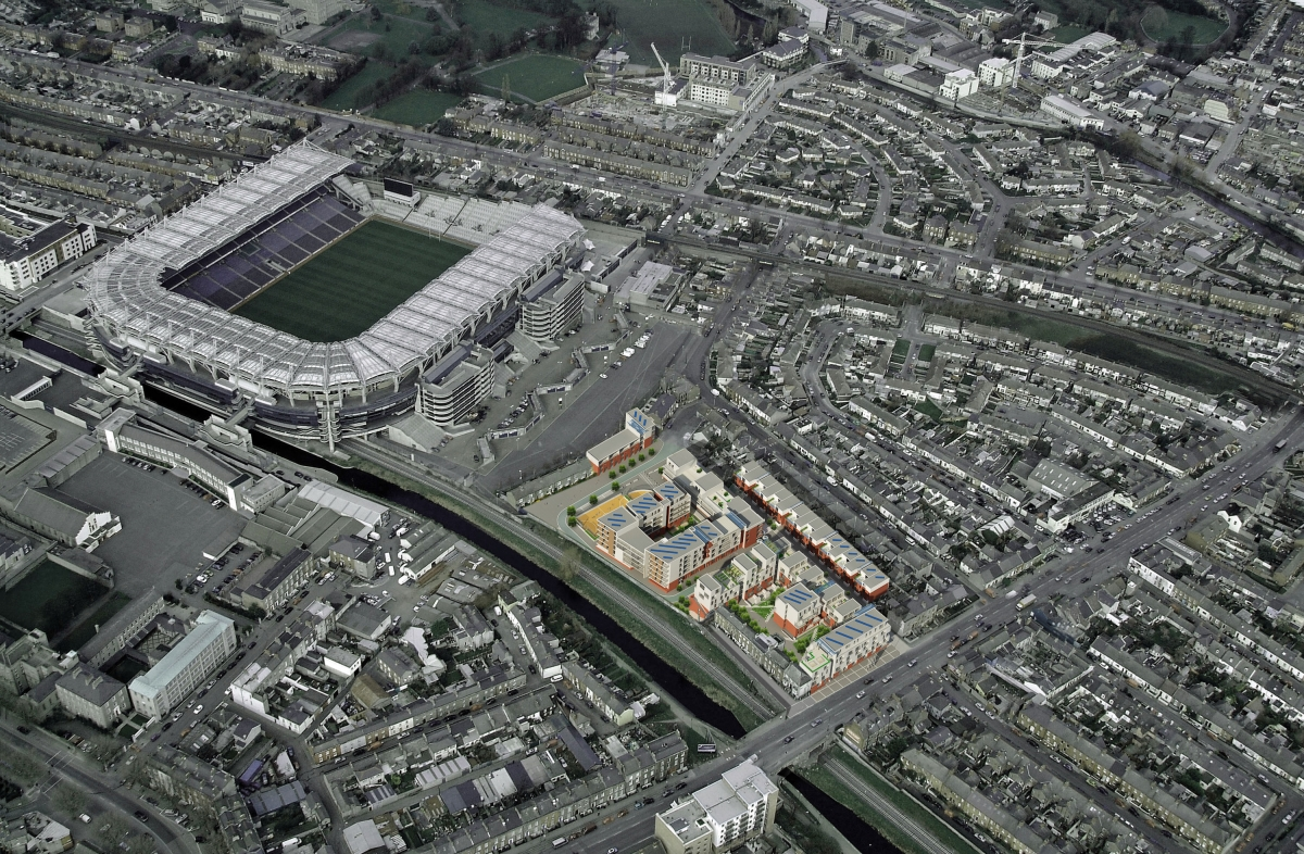 Aerial view of Croke Villas development and nearby stadium