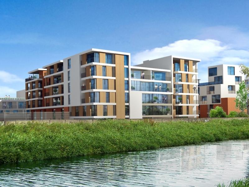 Image from across the river of the Croke villas development in Dublin