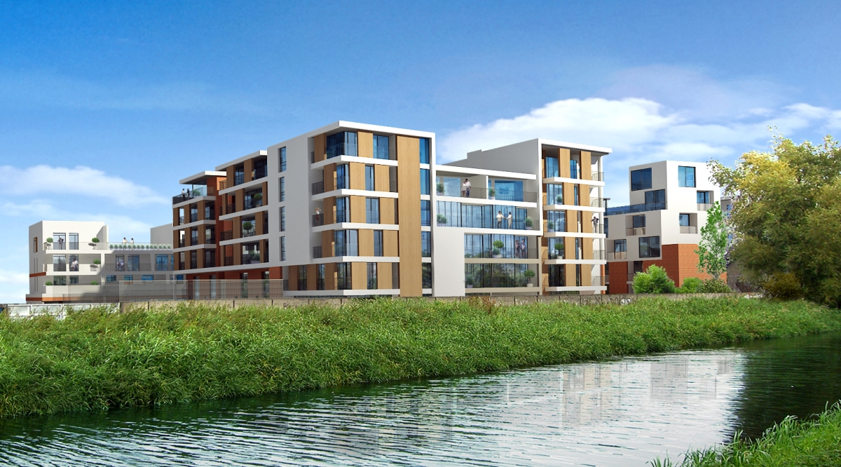 Image from across the river of the Croke villas development in Dublin