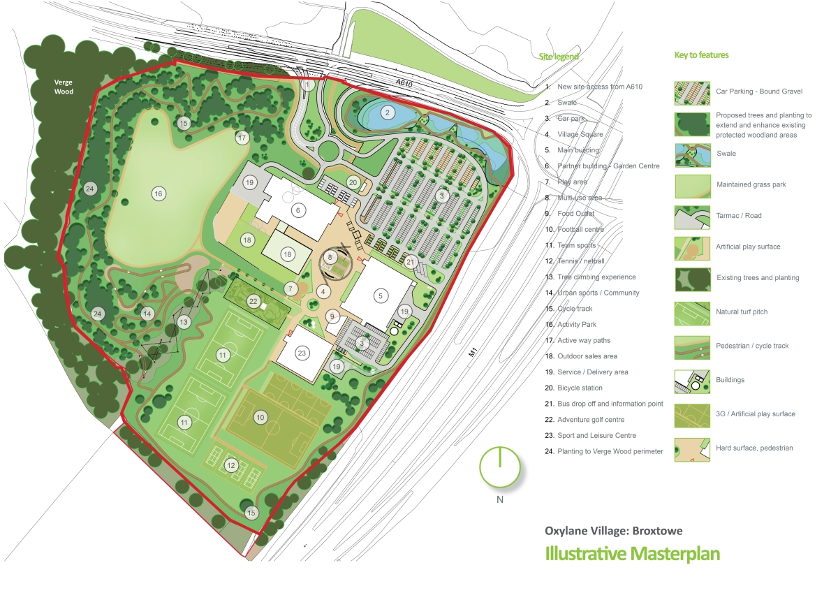 Arial plan of new sports village in Broxtowe, Nottinghamshire