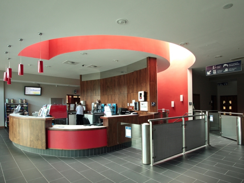 Interior image of reception area for the new Killarney leisure centre