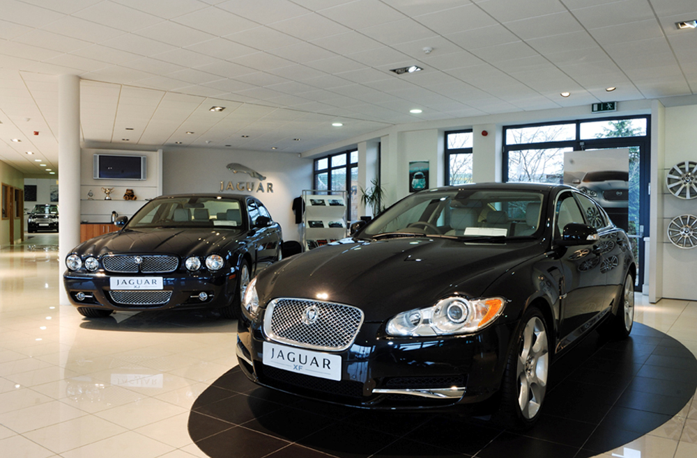 Image of remodeled showroom with two black jaguars