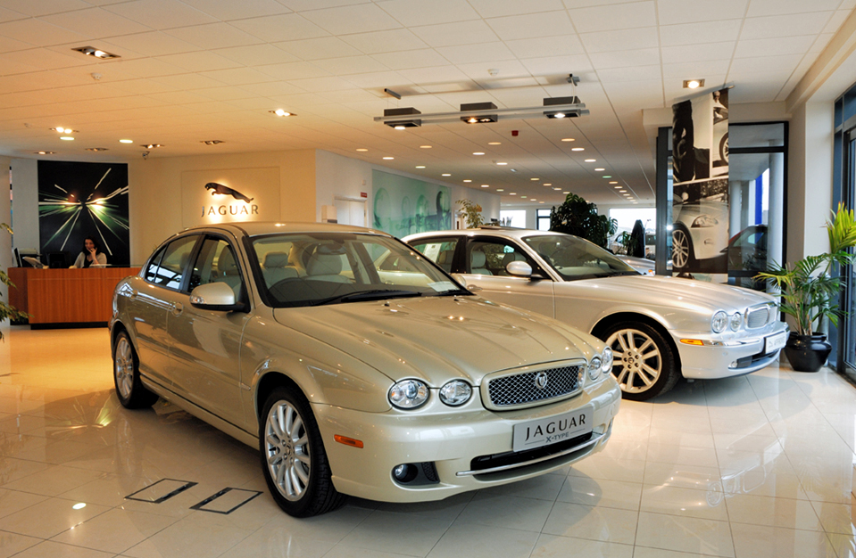 Interior image of remodeled showroom with pearl and white jaguars