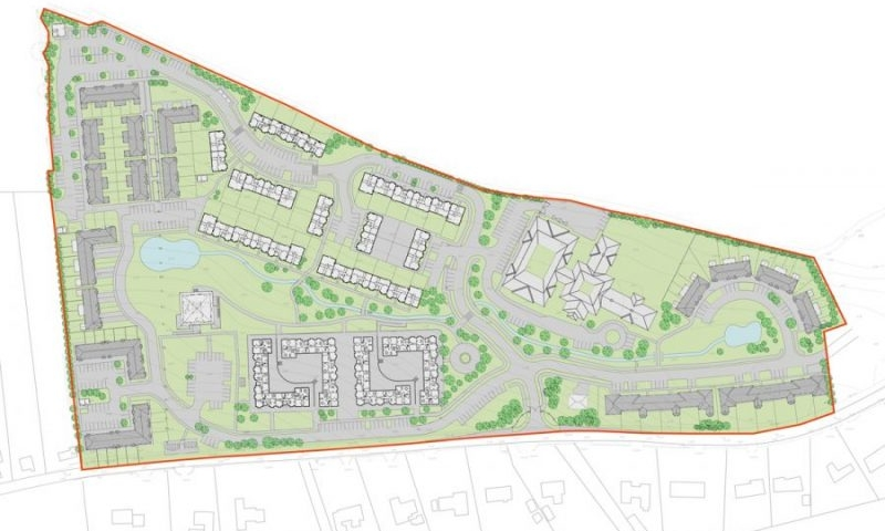 A site plan of the Glendale Mixed Use Housing and Retirement Village