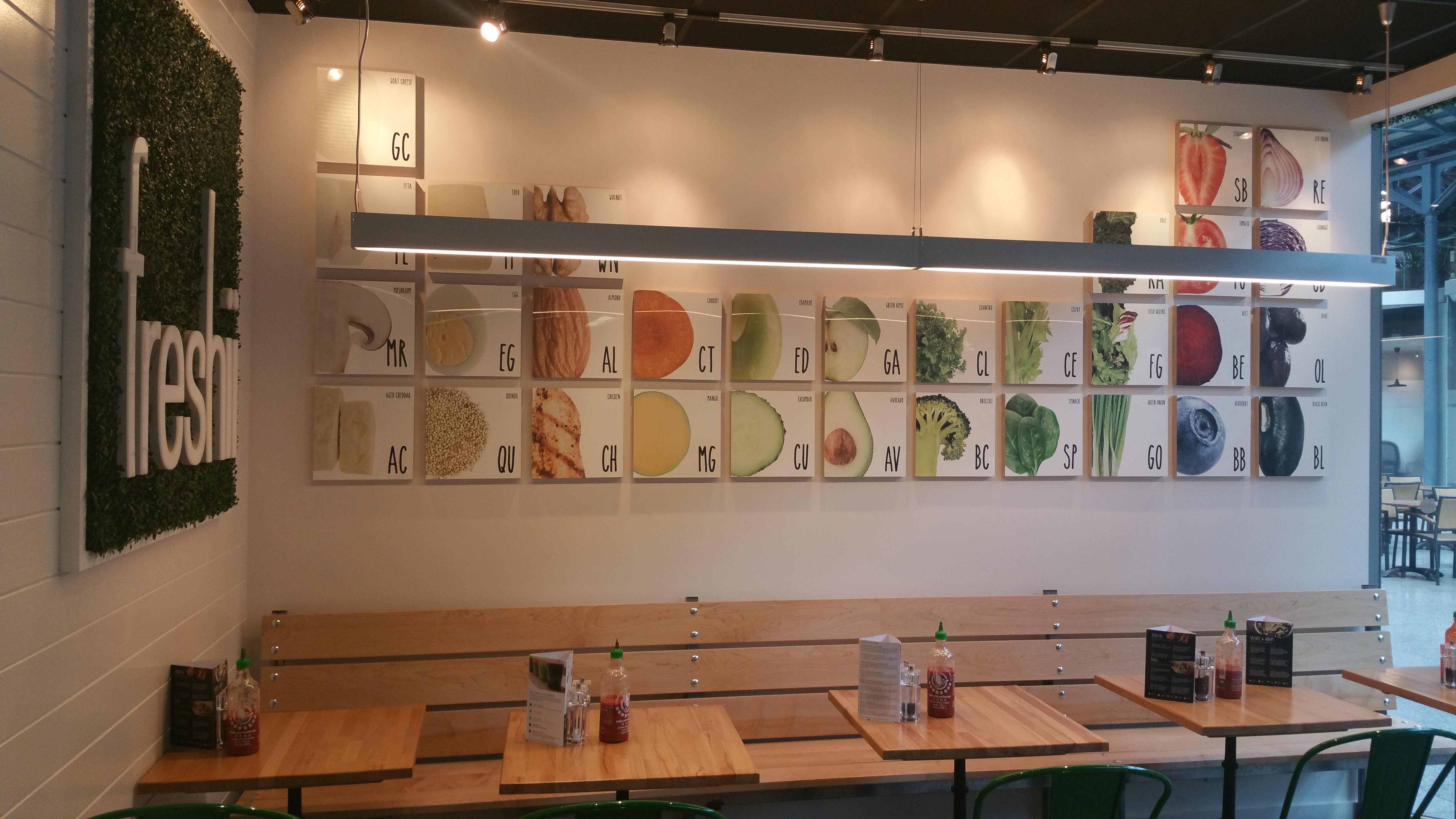 VIew of seating area of Freshii Restaurant